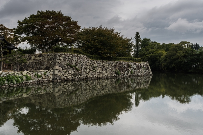 Moat and defences at Himeji Castle, Japan