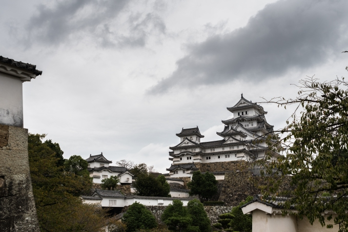 View towards the main keep from inside Himejo Castle.